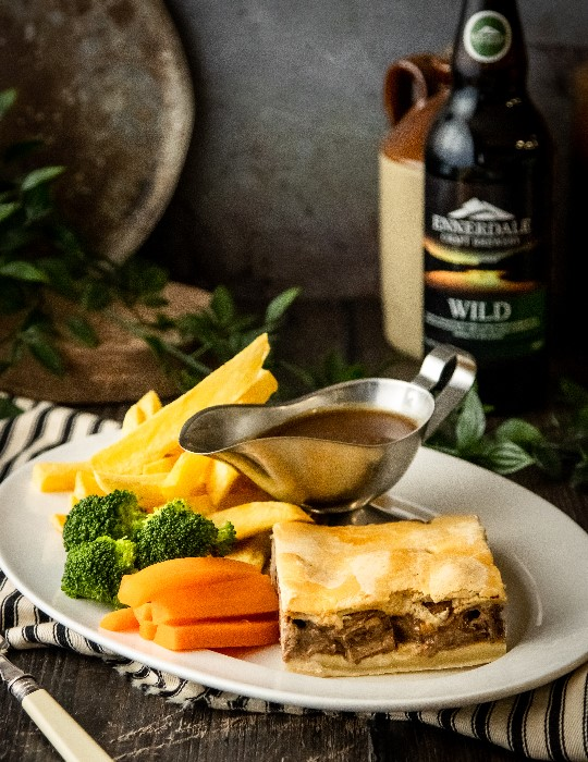 Steak pie and chips at The Brewery Tap